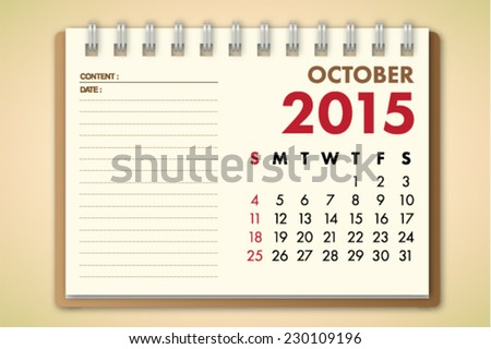 October 2015 Calendar Notebook Paper Vector  - stock vector