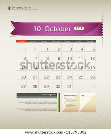 October 2013 calendar ribbon design, vector illustration - stock vector