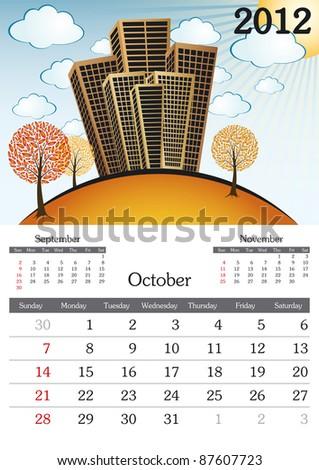 October. 2012 Calendar. Souvenir fonts used. A3 - stock vector