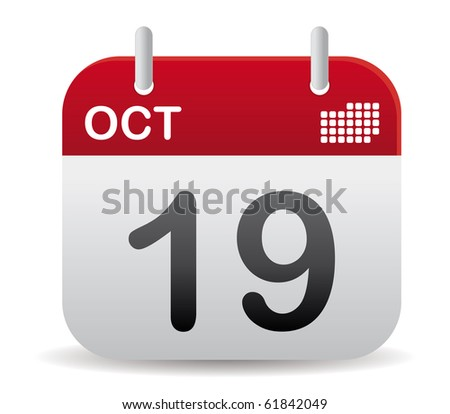 october calendar stand up in red - stock vector