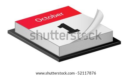 October Calender - stock vector