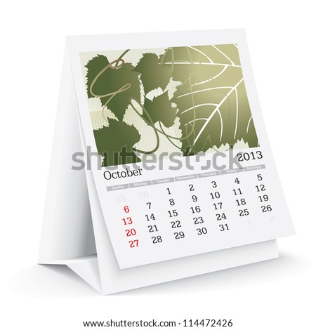 october 2013 desk calendar - stock vector