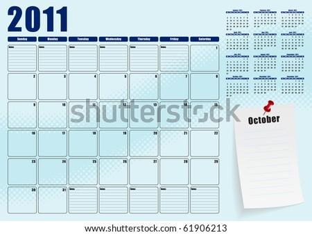 October desk planner for 2011 - stock vector