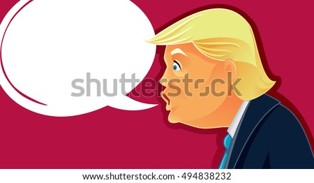 October 7, 2016, Donald Trump Vector Caricature - Funny illustration of the American Presidential Candidate in Election Debate