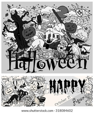 October 31 , Doodle drawn on Halloween , invitation flyer - stock vector