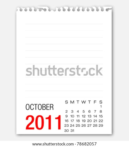 October month calendar 2011 on note paper - stock vector