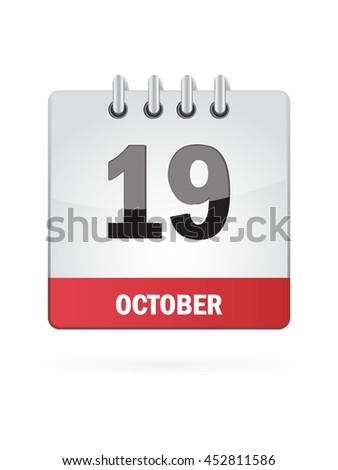 October Nineteen. Calendar Icon - stock vector