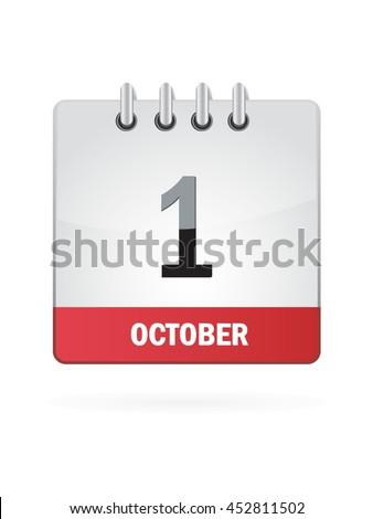 October One. Calendar Icon - stock vector