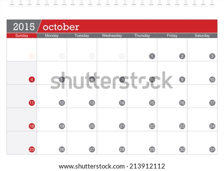October 2015 planning calendar - stock vector