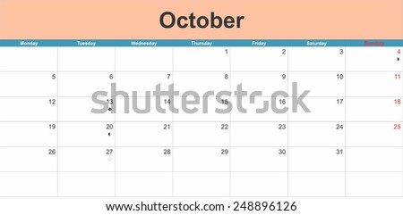 October 2015 planning calendar. Illustration - stock vector