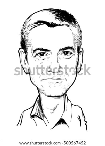 October 19, 2016: Portrait of George Clooney. vector illustration