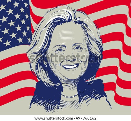 October 12, 2016: Portrait of Hillary Clinton. vector illustration