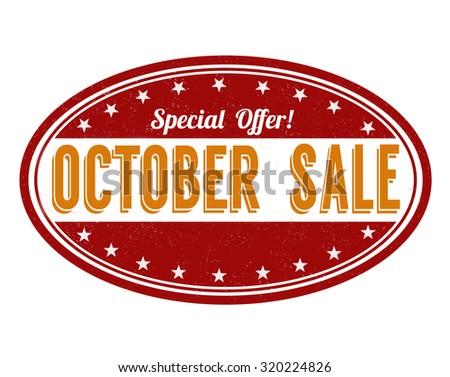 October sale grunge rubber stamp on white background, vector illustration - stock vector