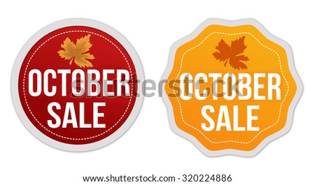October sale stickers set on white background, vector illustration