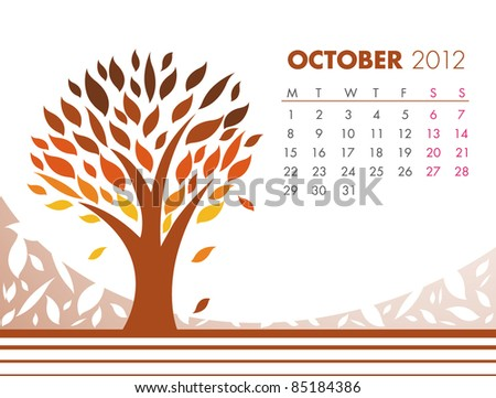 October Tree Calendar 2012. VECTOR