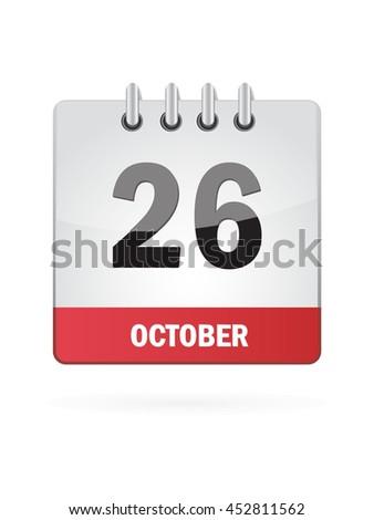October Twenty Six. Calendar Icon - stock vector