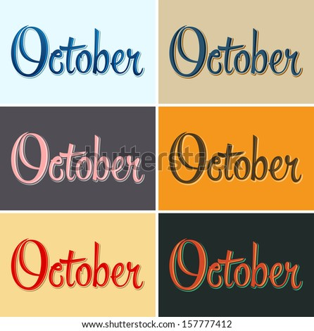 October vector sign - lettering in several color combinations