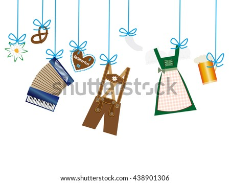 octoberfest background, lederhosen, dirndl, edelweiss, accordion, beer and gingerbread heart icons hanging on blue leash
