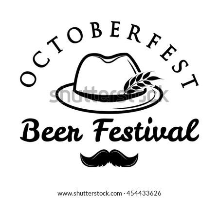 Octoberfest  beer retro vintage badge, logo, emblem, label. Vector illustration. Beer festival. German hunting hat with feather and moustache.