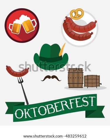 Octoberfest icon set: pretzel, beer , sausage, hat. Oktoberfest beer festival design elements