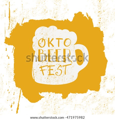 Octoberfest typographic design. Decoration usable as banner, cards, posters, label, badge. Holiday Vector Illustration With Lettering Composition.