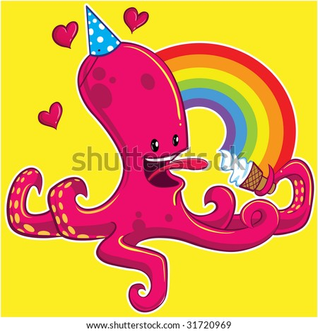 Octopus eating ice cream cone, with rainbow and hearts - stock vector