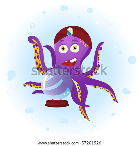 Octopus Fortune Teller with Crystal Ball. Editable Vector Illustration - stock vector