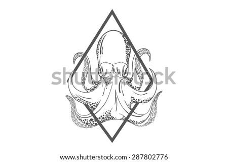 Octopus Deep Template Logo Label Emblem Stock Vector (2018 ...