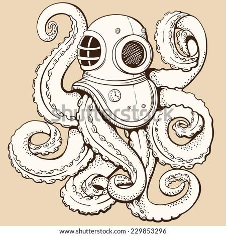 Octopus in retro deep diving suit. Vector illustration - stock vector