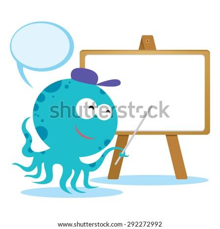 Octopus on presentation. Octopus having presentation with speech bubble. - stock vector