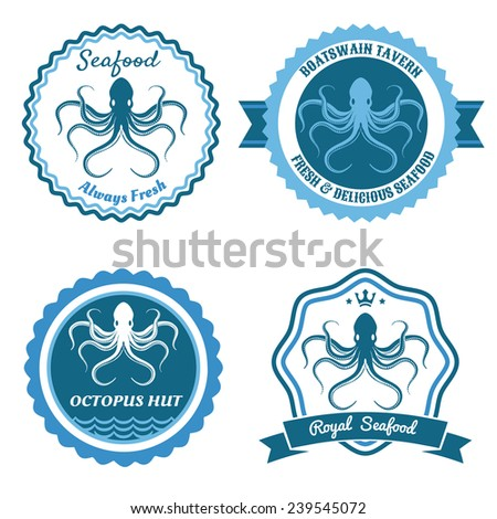 Octopus sea food logo, stickers or badge set. Vector illustration - stock vector