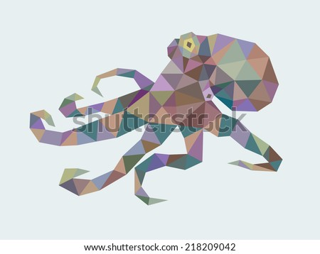 Octopus triangle low polygon style. Nice and clean vector. Good use for your symbol, mascot, website icon, avatar, sticker, or any design you want. Easy to use. - stock vector