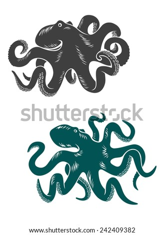 Octopus with waving tentacles, cartoon  illustration, for wildlife or sea life nature design - stock vector