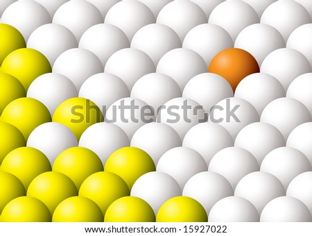 Odd one out illustrated colored ball abstract background - stock vector