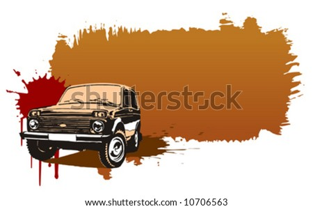 Off-road russian jeep with grunge background. - stock vector