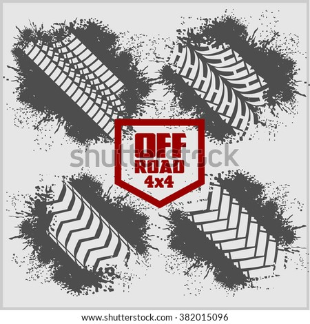 Off road set - dirty tire tracks and grunge ink paint splat - stock vector