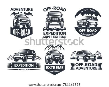 Off Road Symbols Labels 4 X 4 Truck Stock Photo Photo Vector