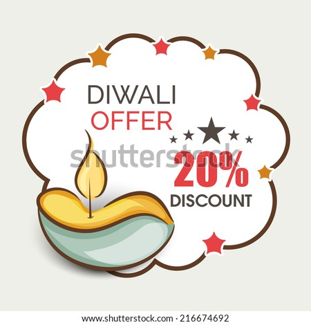 Offer poster, banner or flyer design with illuminated oil lit lamp with 20% discount on occasion of Happy Diwali celebrations.  - stock vector