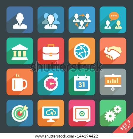 Office and business Flat icons for Web and Mobile Applications - stock vector