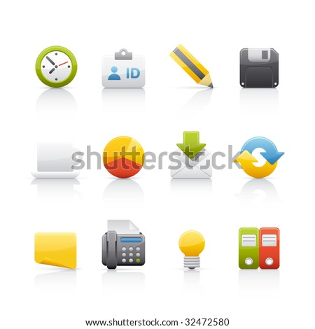 Office and Business Icon Set - stock vector