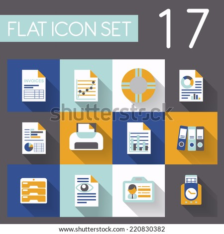 office and business icon set in flat design - stock vector