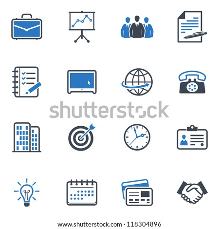 Office and Business Icons - Blue Series - stock vector