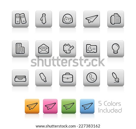 Office and Business Icons // Outline Buttons +++ Each color in a layer - To see the desired color, you need to make it visible in the layer panel +++ EPS 10+ / Contain Transparencies. - stock vector