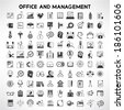 office and business management icons set, business buttons - stock vector