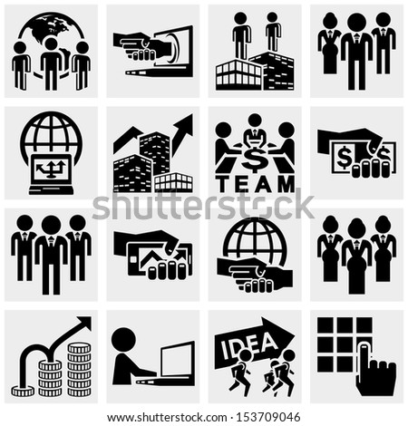 Office and business vector icons set on gray. - stock vector