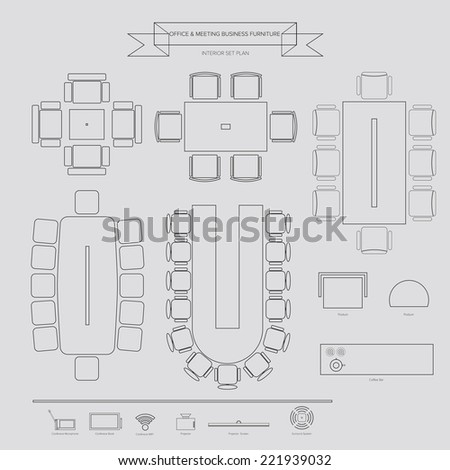 Office and Conferance Business outline Furniture Icon, Top View for Interior Plan - stock vector