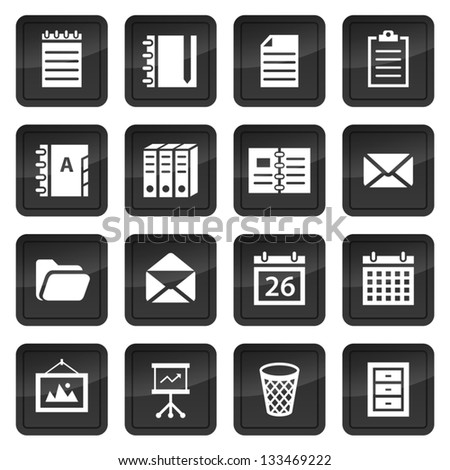 Office and document icons with black buttons with shadow - stock vector