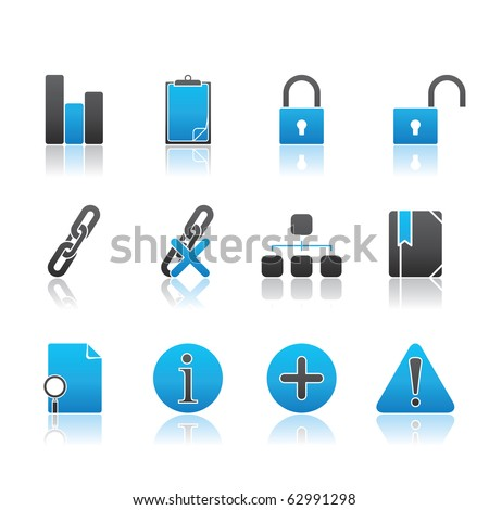 Office and Internet icon set13 � Blue Series.  Vector EPS 8 format, easy to edit. - stock vector