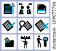 office and organization icon set, vector - stock photo