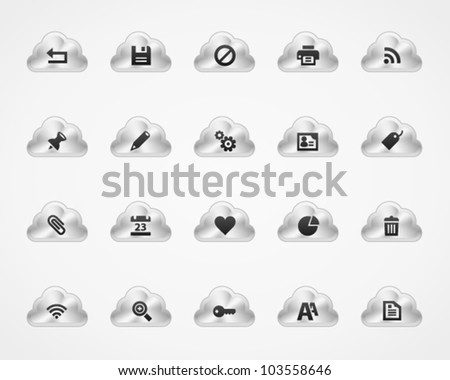 Office and web icons on metallic cloud buttons, set 2
